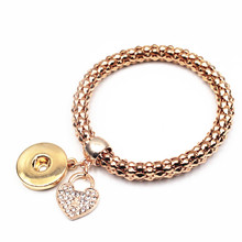 6pcs/lot Rose Gold Elastic Snap Bracelet With Herat Crystal Dangle Charms For Women Men 18mm Snap Buttons Bracelet Jewelry
