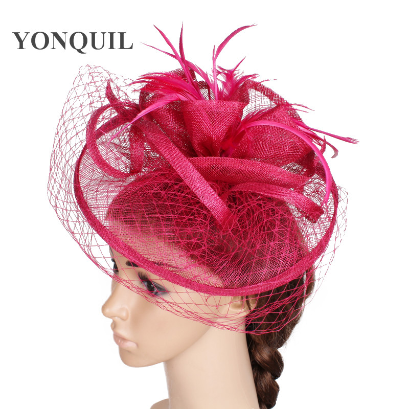 Free ship 18 colors magenta sinamay material fascinator headwear women wedding kentucky headpiece with veils cocktail