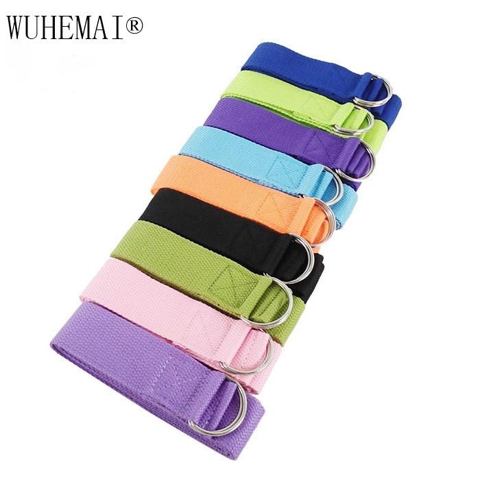 Купить с кэшбэком Yoga Stretch Strap Multi-Colors D-Ring Belt Fitness Exercise Gym Rope Figure Waist Leg Resistance Fitness Bands Yoga Belt