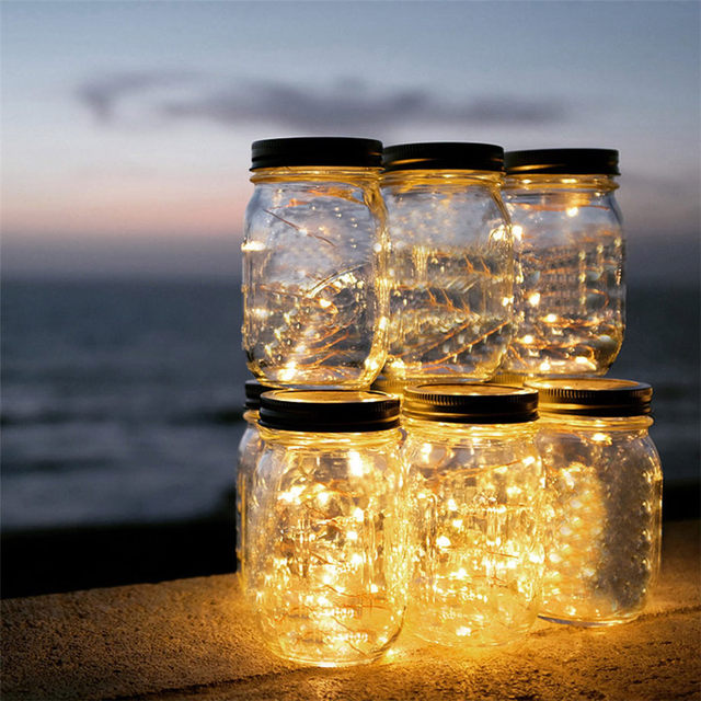 Outdoor Sun Glass Mason Jar With Integrated Solar Panel And LEDs For Lighting For Party Decor Dropshipping July#1