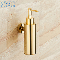 QINGYU ELEVEN liquid soap dispenser gold 304 stainless steel soap dispenser wall mounted bathroom hand wash soap dispenser
