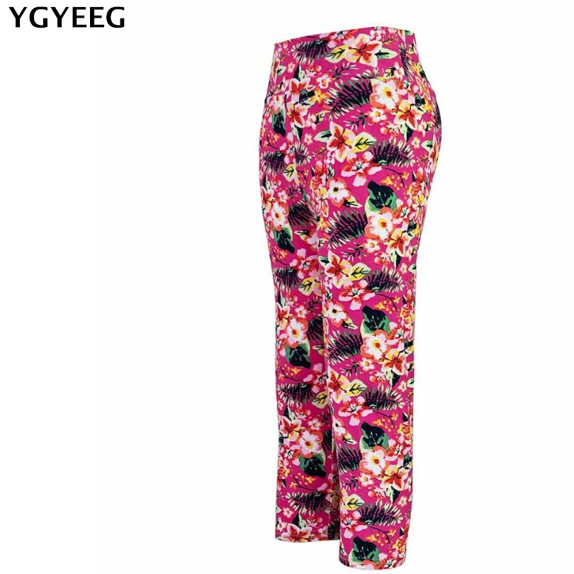 YGYEEG 2020 Heat High Waist Floral Printing Capris Leggings Lady's Casual Stretched Pants Elastic Cropped Leggings Women Legging