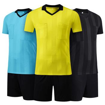 Nowe wzory sędzia koszulka piłkarska koszulka piłkarska sędzia sędzia jednolite oddychające stroje piłkarskie sędzia mundury tanie i dobre opinie SHINESTONE Poliester Pasuje prawda na wymiar weź swój normalny rozmiar Men Soccer Referee Uniforms 1 Set Black Yellow Blue