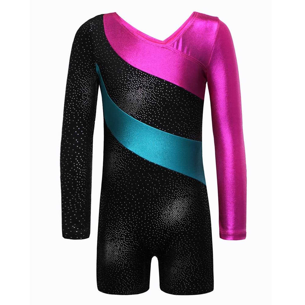 Long Sleeve Gymnastics Leotard Girls Dancesuit Striped Costume Kids Dance Ballet