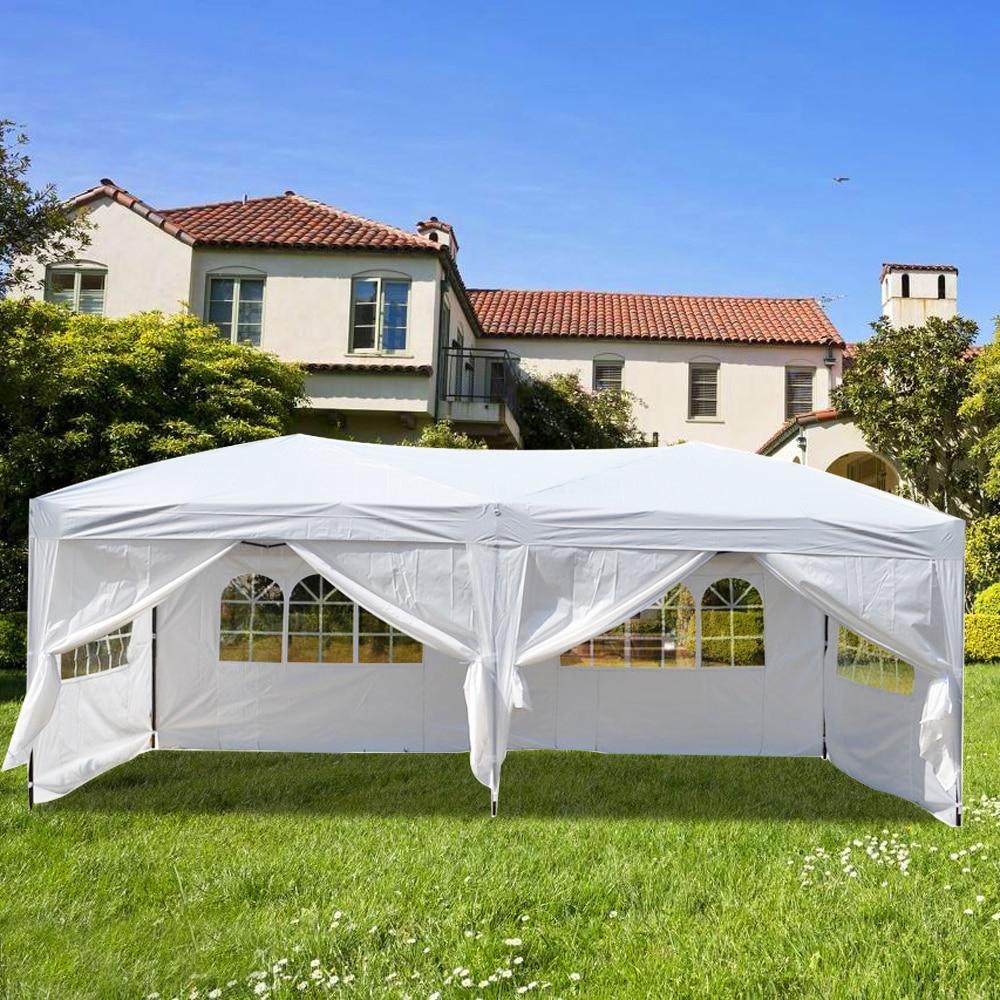 3*6 m quatre fenêtres/deux fenêtres pratique imperméable à l'eau pliante tente blanc bleu jardin Gazebos pour un usage extérieur Parking