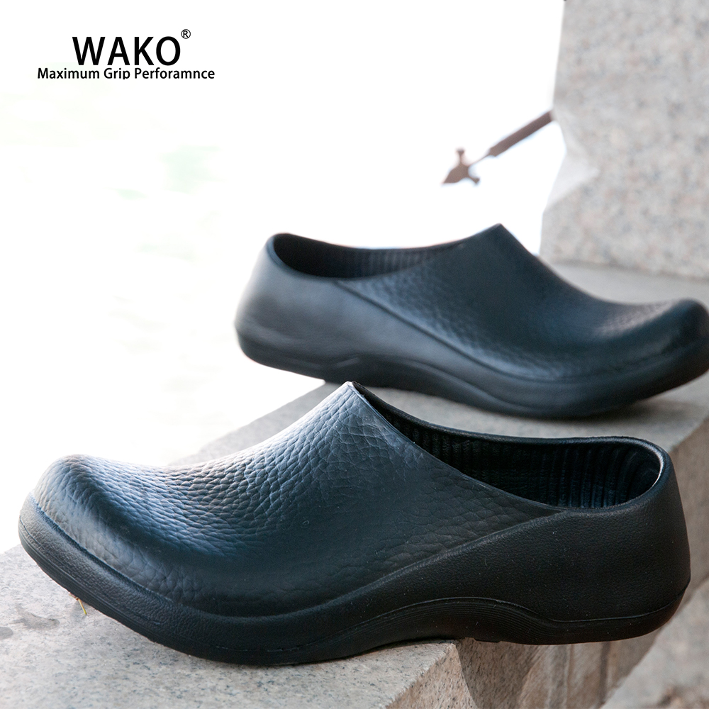 WAKO Men Chef Shoes Non-Slip Kitchen Work Safety Shoes Anti-Skid Cook Clogs Sandals For Hotel Restaurant Master Chef Black 9051