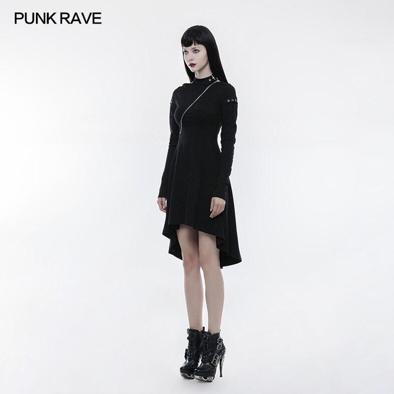 Femmes Sur Dans Mode Plus Opq Rave Gothique 236lqf Creusant Black Noir Robe Arrière Le Ourlet Zipper Asymétrique Punk Incliné ww7xn8qRB