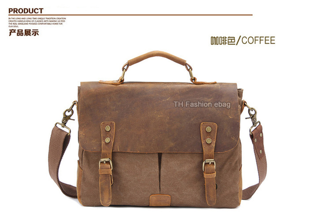 Vintage Leather + Canvas men briefcase Business bag Portfolio men office bag male canvas briefcase attache case document tote