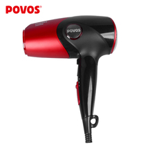 POVOS Styling Tools Hair Dryer Travel Household Red and Black Professional Blow Ionic Hairdryer Foldable Handle (220-240V)PH8803