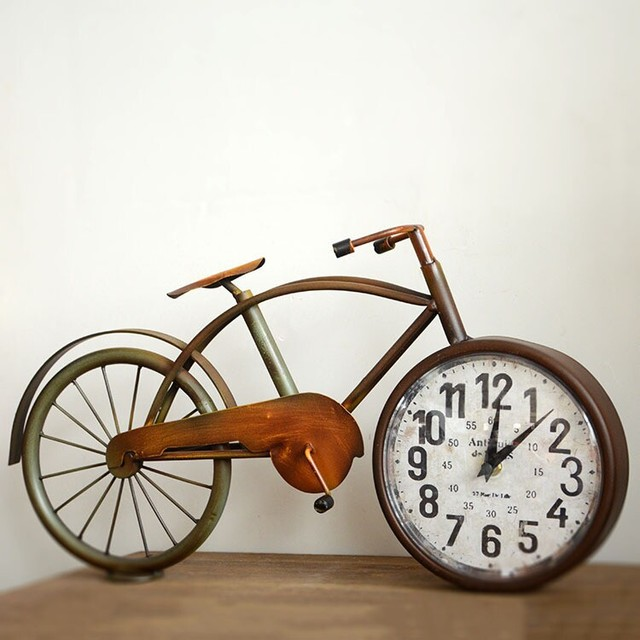 Retro Old Bicycle Table Alarm Desk Clock Wall Antique Vintage Decorative  Table Clock