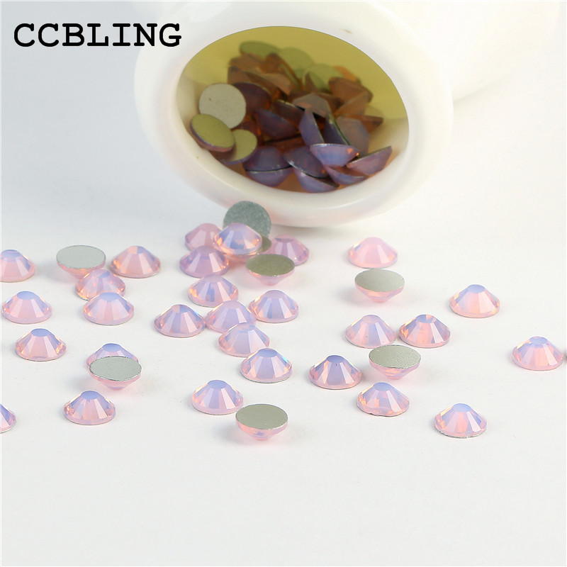 CCBLING Crystal Pink Opal ss3-ss30 1440pcs/pack Glue On Non Hotfix Flatback bead rhinestones nail art DIY decorations glitter flatback crystal resin rhinestones 2 6mm aquamarine ab color new design for nail art decorations stick drill non hotfix