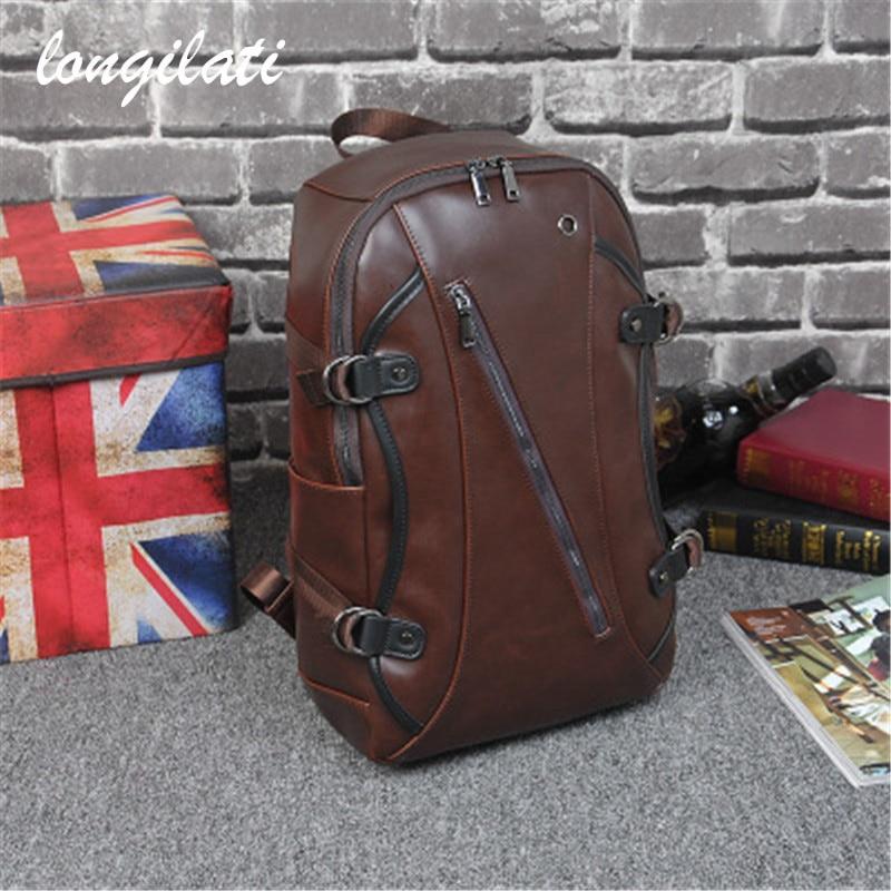 New Backpack Men Leather Travel Backpacks For School Teenagers Shoulder Zipper Brown Bag Male Vintage Mochila Rucksack Bagpacks