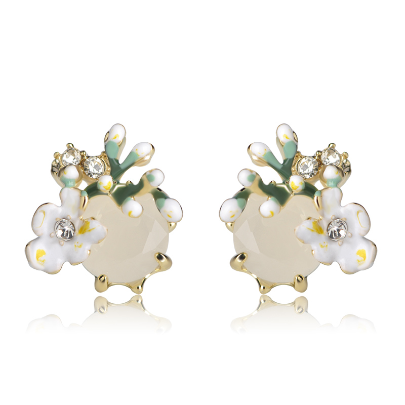 Blucome Enamel Green Flowers Stud Earrings For Women Girl Crystal Milky Stone Small Size Alloy Wedding Ear Jewelry Pendientes image
