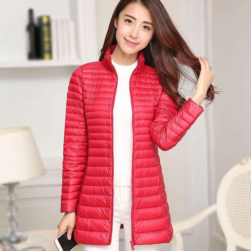 women ultra light down jacket women slim thin long parka zipper coats pockets solid winter duck down jackets Y393