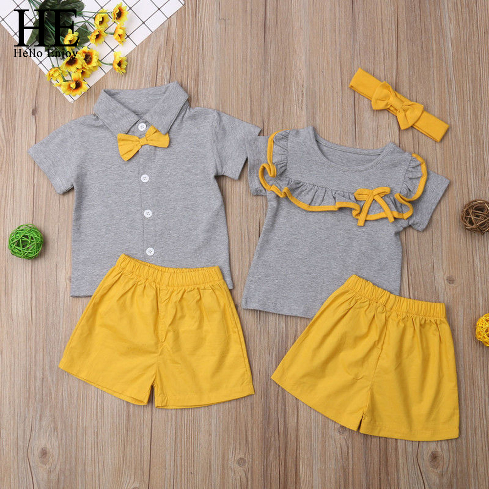 HE Hello Enjoy Family Clothing Set Boys And Girls Clothing T-shirt+Yellow Shorts Family Matching Clothes Girls And Boys Clothes