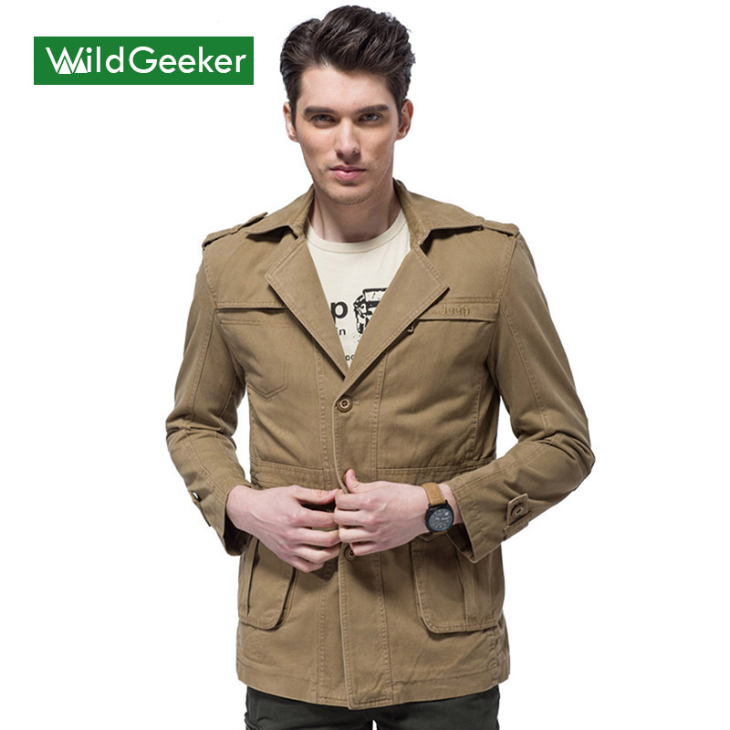 Wildgeeker Men's Jackets Windbreaker Brand Clothing Mid Length Cotton 2017 Army Green Jeep Spring Military Style Coat Men Jacket