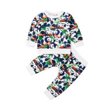 Casual Toddler Baby Boy Girl Panda Long Sleeve Tops Sweatshirt Pants Outfits Set Clothes 2019 цена и фото