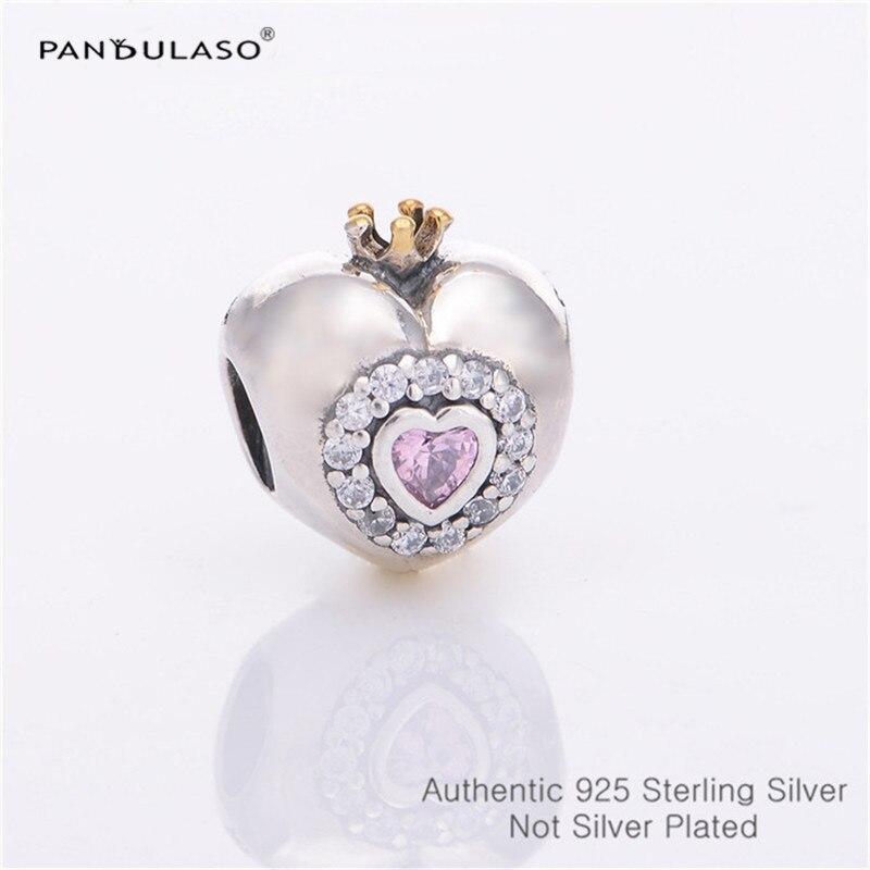 985fcbf5487d Pandulaso princesa corazón Rosa CZ cuentas para hacer joyería ajuste  encantos plata 925 pulseras ...