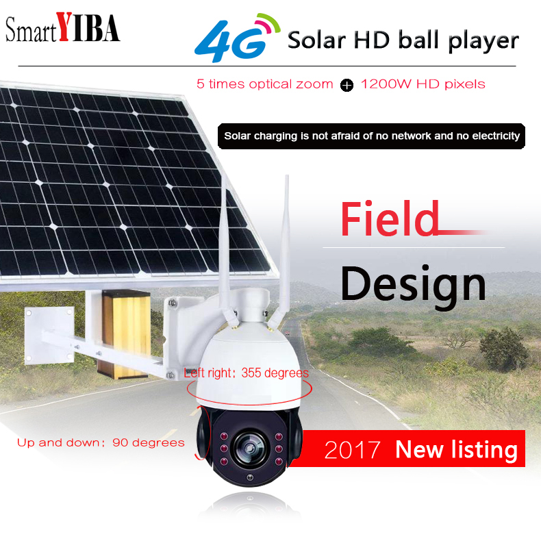 SmartYIBA 4G puissance WIFI caméra solaire WIFI caméra de sécurité 4G IP HD1080P système de vidéosurveillance extérieur carte SIM 128 GB carte SD voix bidirectionnelle