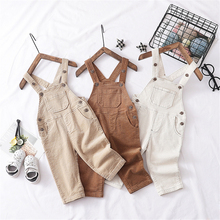2019 Spring Kids Overalls Children Corduroy Jumpsuit for Boys Girls Pure Cotton 1 2 3 4 5 Years Old Baby Pants Baby Boy Clothes