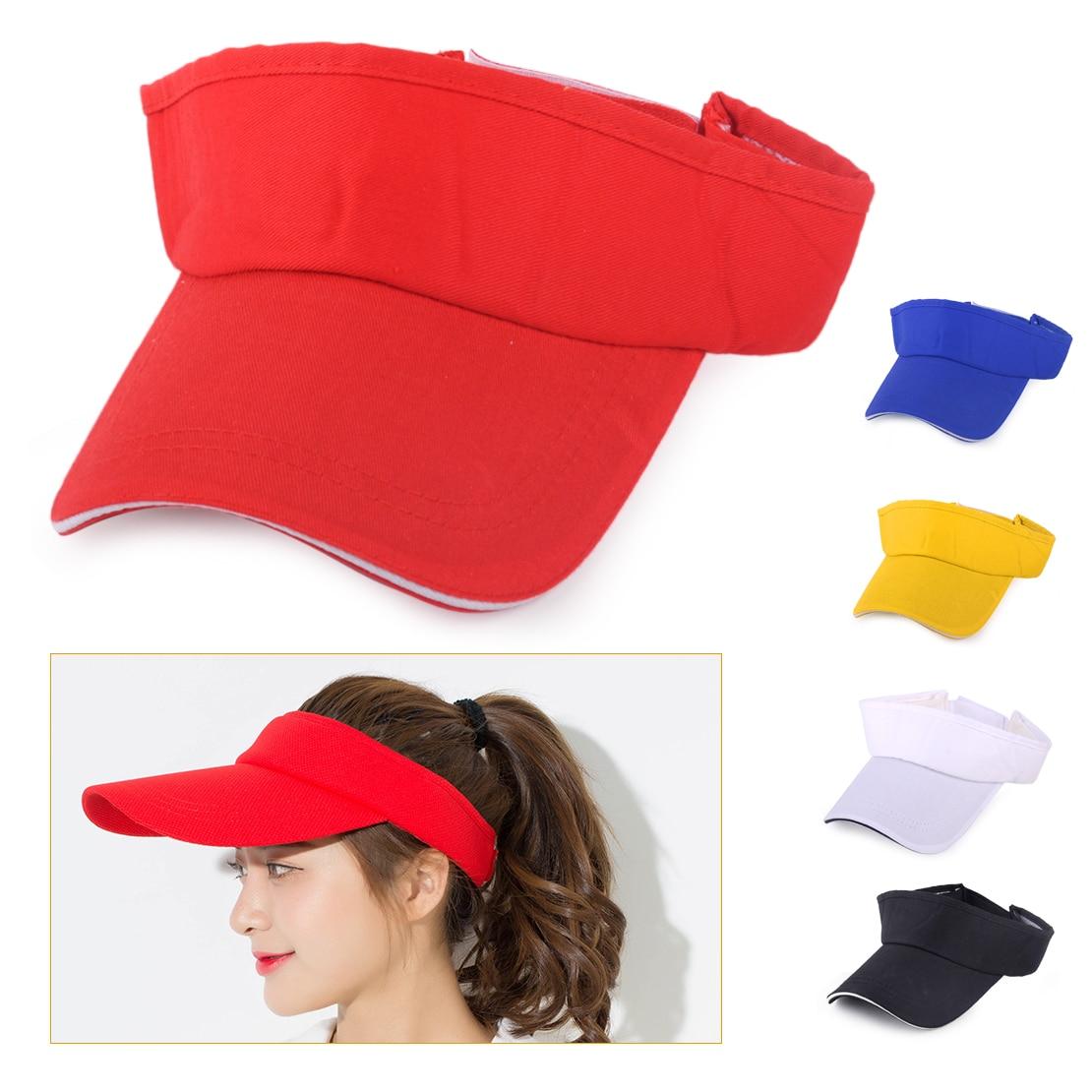 Adjustable Snapback Sun Hat Tennis Caps Men Women Outdoor Beach Sports Solid Color Visor Hats Unisex Baseball Golf Cotton Cap
