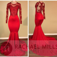 2018 Vintage Long Sleeves Red Prom Dresses Mermaid Appliqued Sequined African Black Girls Evening Gowns Red Carpet Dresses