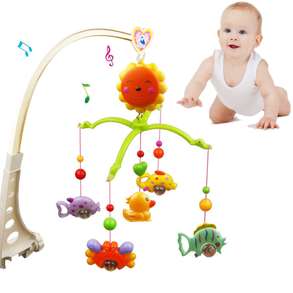 Baby Crib Remote Control Bed Bell Holder Kid Toy Bracket Wind-Up//Auto Music Box