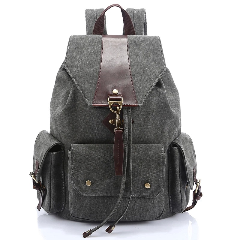 large grey canvas backpack for boy bag for laptop high school bags for boys school backpack men travel bags rucksack bagpack