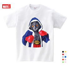 Hot Sale Super Cool Boxing Cat Attack Kids On vacation T-shirts Summer Children Cotton Baby Clothes Boys/Girls Casual Tops Tees