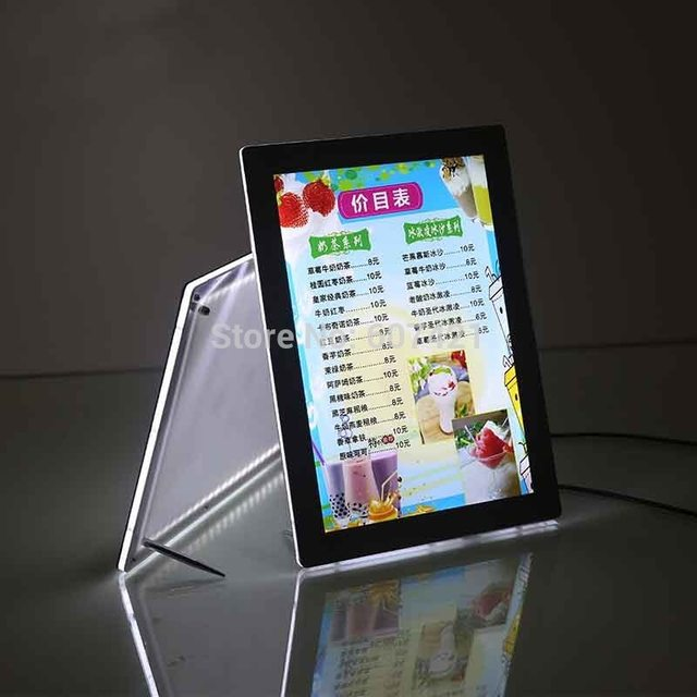 A4 Single Sided Magnetic Front Panel Lightbox Poster Frames,LED Frameless Crystal Light Box for Hotel,Cafe Shop