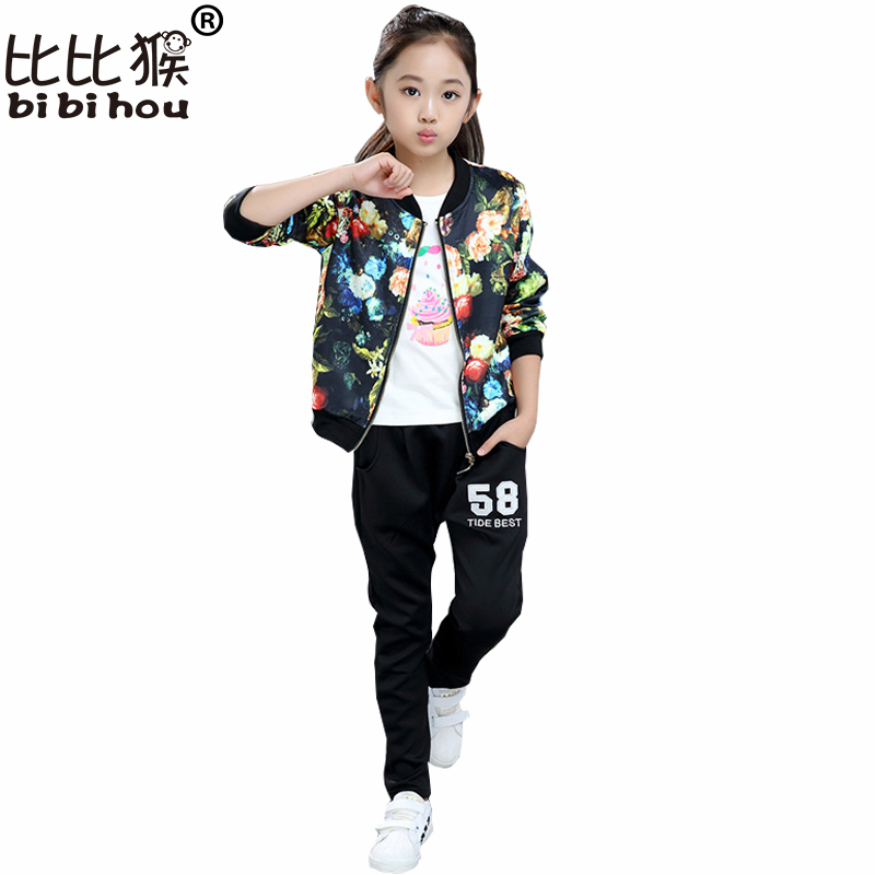 Girls Clothes Suit Baby Clothes Set Autumn Spring Flower Kids Suit for Girls Girls Sports Suits Tracksuits Children Clothes Set 2017 spring autumn children clothing set girls sports suit baby girls tracksuit cartoon minnie children clothes set kids cloth
