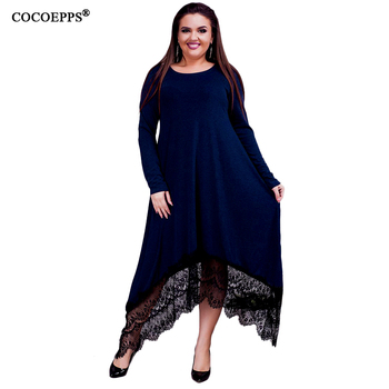 5XL 6XL new Women Irregular Lace Patchwork Long Dress Maxi Winter Big Sizes Dress Plus Size Casual Party Dresses Black Blue