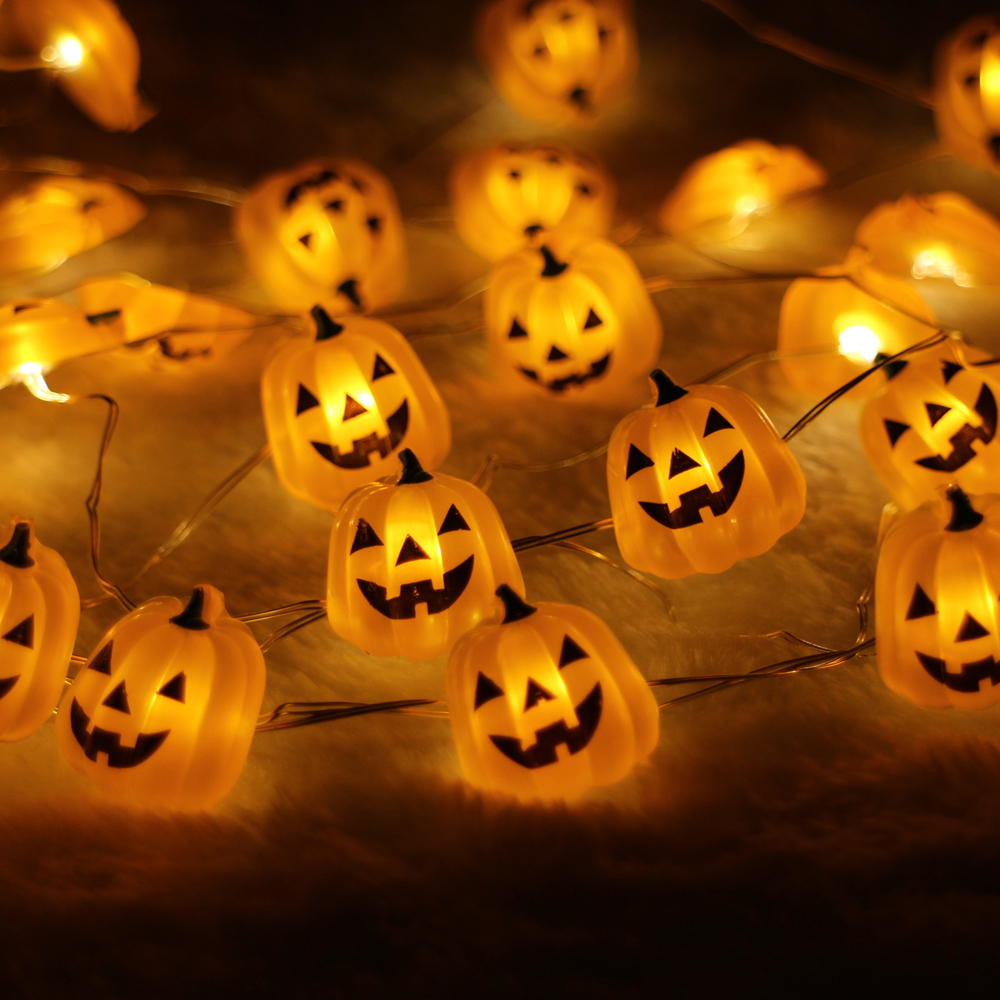 40led 10ft 3m pumpkim led string light decoration halloween indooroutdoor battery operated silver wire string light
