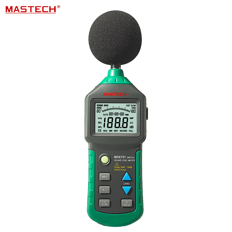 MASTECH MS6701 Autoranging Digital Sound Level Meter Decibel Tester With RS232 Interface and Software , 30dB to 130dB tm 102 autoranging sound level meter