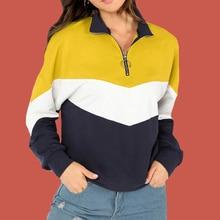 Half Zip Pullover Sweatshirt Multicolor Hoodie Poleron Mujer 2019 Color Block Hoodie Wave Striped Women Hoodies Retro Tracksuit zip front color block dress