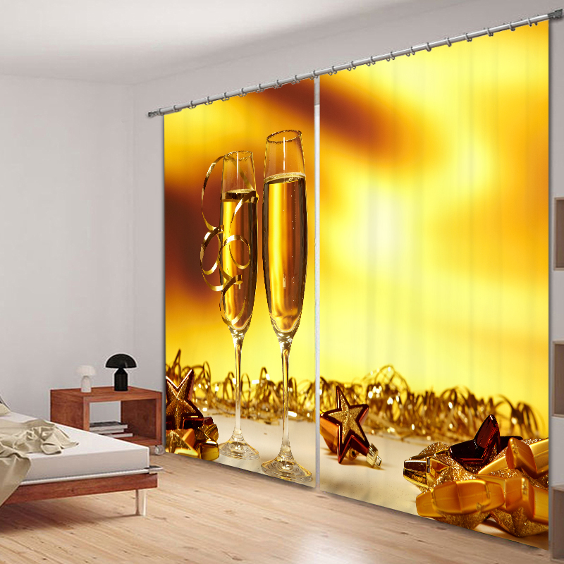 Customize 3D Blackout Curtains Wine Goblet Pattern Non