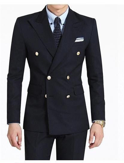 3 pieces Double-Breasted Groom Tuxedos Peak Lapel Groomsmen Best Man Wedding Business Pr ...
