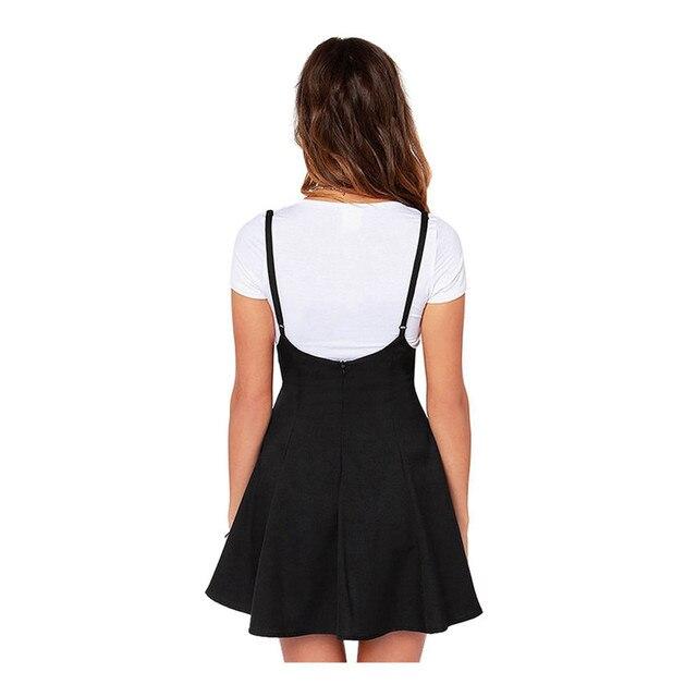 32acdf8a7 Mujer a-line faldas falda negra sólida de la Honda con el hombro Correas  plisado