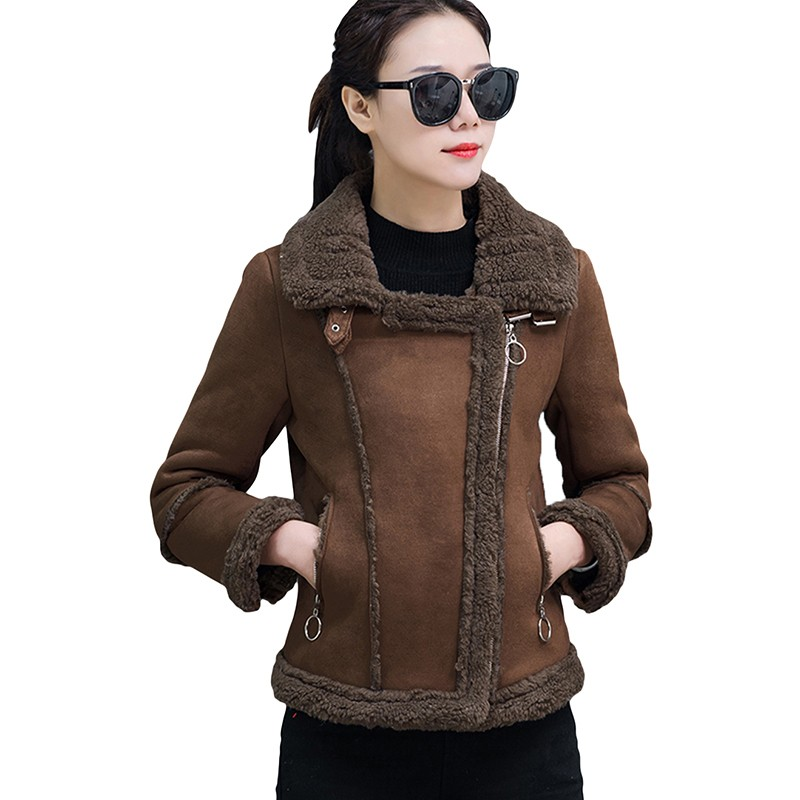 Autumn Winter   Suede     Leather   Jacket Women Lamb Wool Short Motorcycle Outwear Lady Thick Warm Black Pink Coat Short Warm Parkas