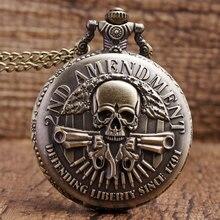 Новое поступление, мода, защита свободы, с 1791 года, 2-я модификация, военный пистолет, череп, кварцевое ожерелье, мужские и женские карманные часы, подарки