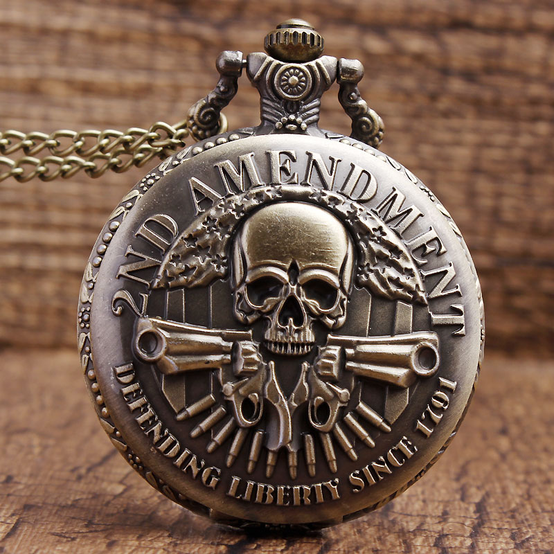 New Arrived Fashion DEFENDING LIBERTY SINCE 1791 2nd AMENDMENT MILITARY Gun Skull Quartz Necklace Mens Women Pocket Watch Gifts