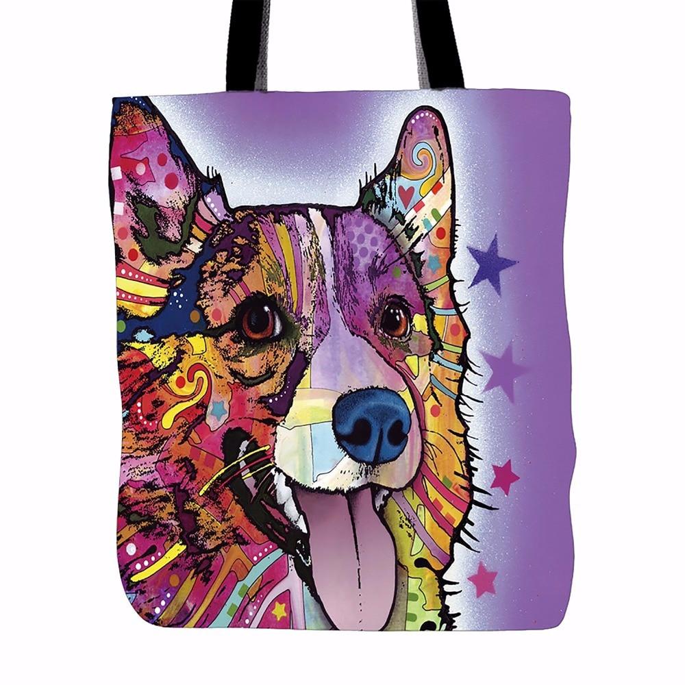 Personalizar Cute Corgi Dog Canvas Tote Mujer Single Shopping Bag - Bolsos