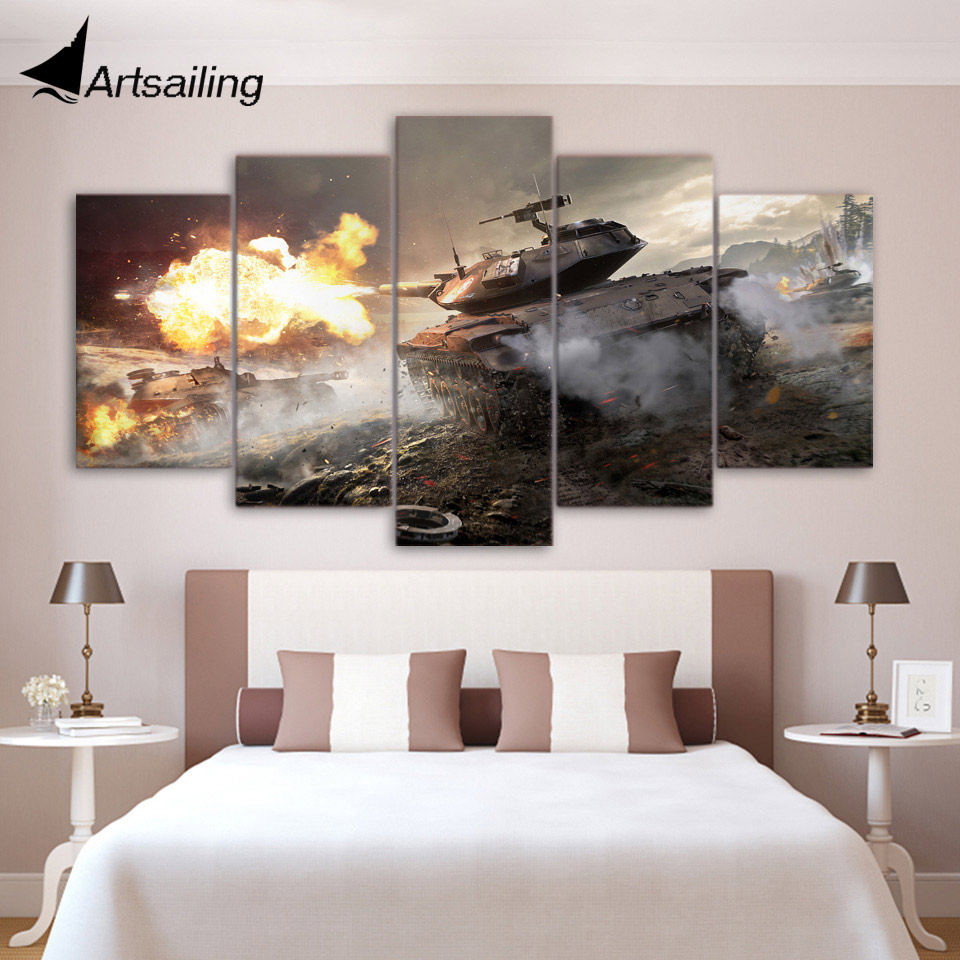 HD Printed War World of Tanks 5ps picture painting wall art childrens room decor poster canvas Free shipping/up-1193