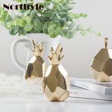 ФОТО dh golden ceramic pineapple figurine desk decor porcelain pear furnishing hoem decor christmas gift porcelain miniatures