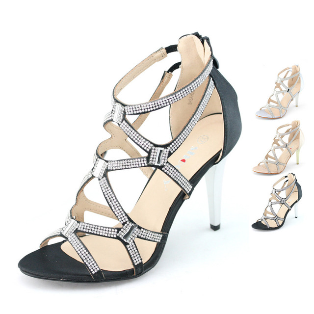 c20a556dbf0 US $39.98 |womens strappy satin silver black thin high heels stilettos  gladiator shoes for wedding prom crystal zip elastic anckle sandals-in  Women's ...