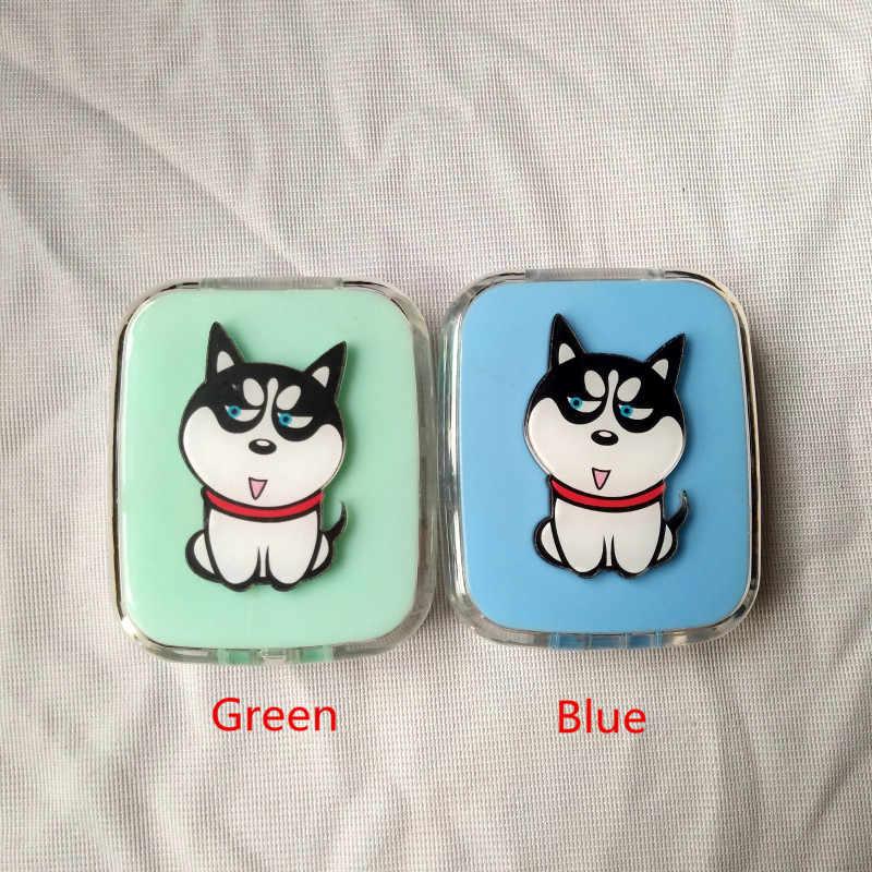 Liusventina Diy Acrylic Lucu Anjing Peliharaan Binatang Laut Lensa Kontak Case dengan Cermin Kotak Kontainer untuk Lensa Warna Hadiah untuk anak Laki-laki