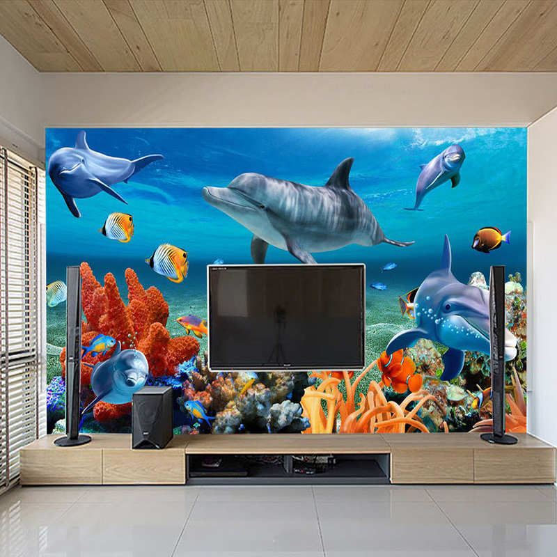 US $9 46 49% OFF|Custom 3D Mural Wallpaper For Kids Underwater Dolphin Fish  Wall Paper Aquarium Wall Background Room Decor Kids' Bedding Room-in
