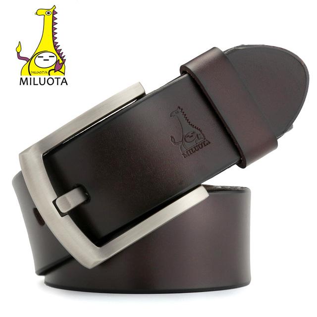 [Miluota] cinturón marca hombre moda correa masculina piel de vaca cinturones de cuero genuino para hombre jeans mu015