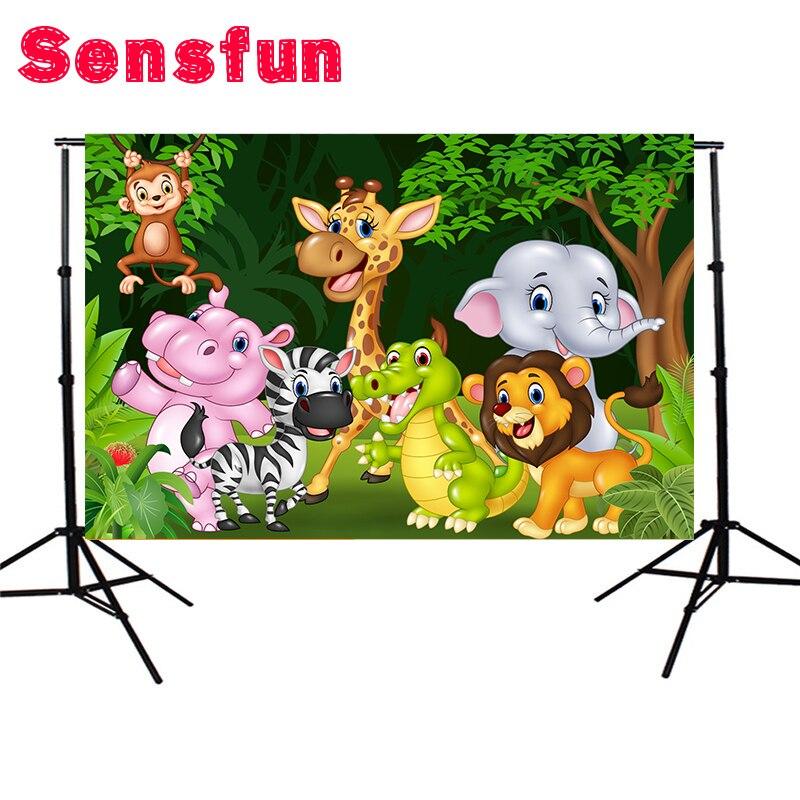 Sensfun Polyester Enfants Photocall Safari Partie Enfants D'anniversaire Personnalisé Photo Studio Backdrop 200x150 cm