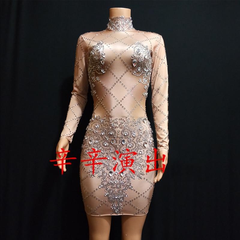 Яркие Стразы с длинным рукавом платье телесного цвета Серебряные Камни женское платье одежда для ночного клуба, для танцев Для женщин День